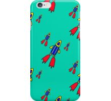 seamless pattern with space rockets flying on blue background. Cute kids doodle drawing. iPhone Case/Skin