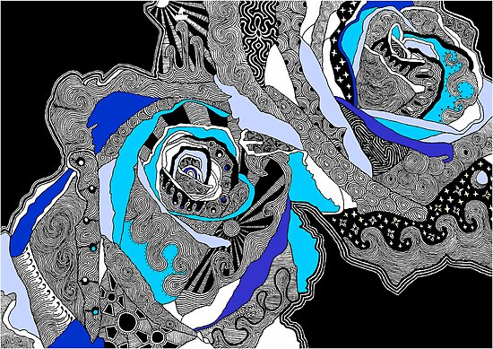 rose doodle blue by andrew j wrigley