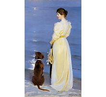Summer Evening at Skagen. The Artist's Wife and Dog by the Shore-_P.S._Krøyer Photographic Print