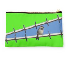 Sparrow on blue and green background Studio Pouch