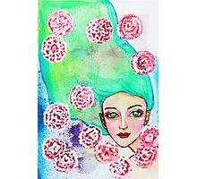 Girl with Green Hair Photographic Print