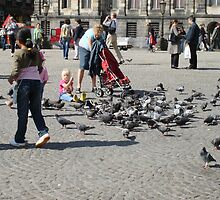 Food for the Doves on Dam Square in Amsterdam by AnnieSnel