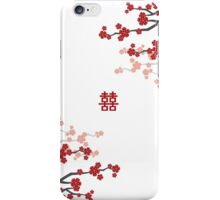 Red Sakura Cherry Blossoms on White & Chinese Wedding Double Happiness Symbol iPhone Case/Skin
