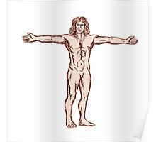 Vitruvian Man Arms Spread Front Etching Poster