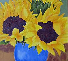 Sunflowers in Blue Vase by RebeccaW