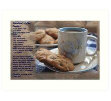 Grandma's Coffee Cookies (recipe) w/ white border Art Print