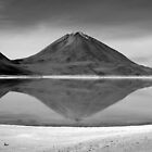 Volcanic Reflection B&W by Honor Kyne