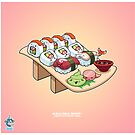 Kawaii California Roll and Nigiri Vector  by BleuhMeuhDesign