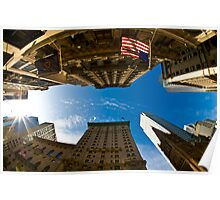 New York, Fisheye and Airbus A380 Poster