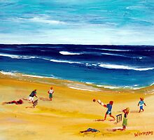 Family Beach Cricket by Wendy Eriksson