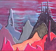 10 - STYLISED MOUNTAIN RANGE - DAVE EDWARDS - WATERCOLOUR - 1967 by BLYTHART