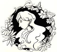 butterfly doodle b&w by ninamarie