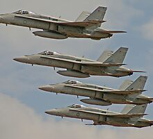 4 F/A-18 Hornets perform Fly by by Shane Ekerbicer
