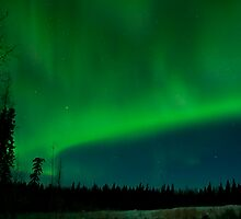 Half-moon Lit Aurora Green Morning Kinda Night by peaceofthenorth