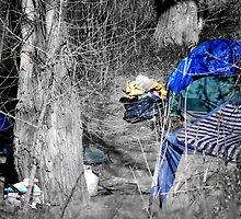a West Sacramento homeless encampment by Lenny La Rue, IPA