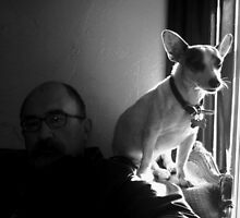 Jake with Petey at Window by L Hartley