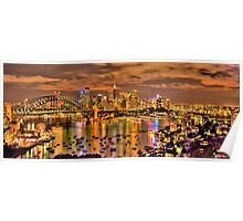 """""""Lights Camera Action"""" - Sydney Harbour - Moods Of A City - The HDR Experience Poster"""