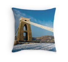 Clifton Suspension Bridge in WInter Throw Pillow