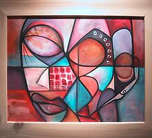 Afro-Cubist Mother and Child by Makeba Kedem-DuBose