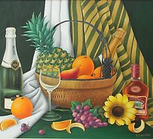 Still life with fruit basket by Olga Levitas