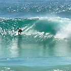 Surfing at Burleigh Heads #4 by Virginia McGowan