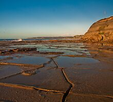 Blue reflections of Bar Beach by Liz Percival