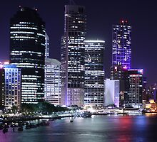Brisbane at night by Vaughan Whitworth