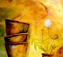 Still Life with Old Dandelion Stencil and Terracotta Pots by ©Janis Zroback