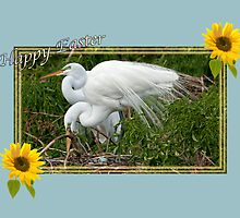 Great Egrets At Their Nest by Delores Knowles