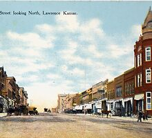 1908 Lawrence, KS, Mass Street looking North delightful image from antique postcard. by Steve Sutton