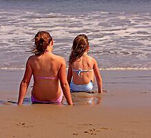 Two Girls Anticipating the Next Wave by Buckwhite