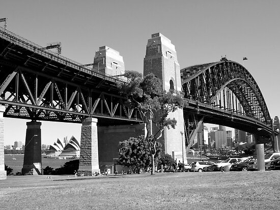 Sydney Harbour Bridge, Australia (B&W) by Jonathan Jones