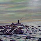 Rhode Island Fishermen on Rocks by Richard Nowak