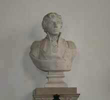Bust of Lord Nelson, church at Burnham Thorpe by Gracie Borgnet
