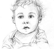 Portrait of Julian, 8 months old, pencil on sketch  paper, 21 x 29,7 cm, pencil: 3B,  2003 by Franko Camue