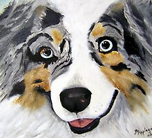 Toby ~ Australian Shepherd ~ Oil Painting by Barbara Applegate