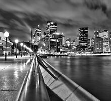 Sydney at night B&W by John Vandeven