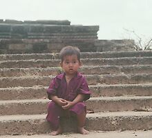 Boy on Steps, Temples of Angkor by Lulu Parent