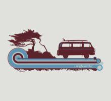 'Longboard' Surf Retro Design in Maroon & Aqua by Bootee