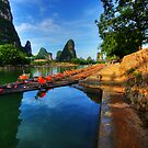 Bamboo Rafts on the Li-River by Christopher Meder