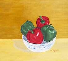 Bell Peppers in Porcelain Bowl by Thi Nguyen