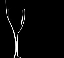 bottle and wineglass silhouette. by trinochka
