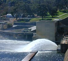 Water Gushing from Hume Reservoir by David Hunt