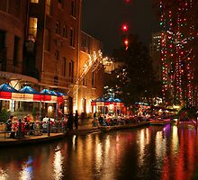 San Antonio River Walk at night during Christmas Holidays by kellimays