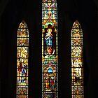 Leadlight window at St Joseph Catholic Church, Hanoi Vietnam by Bev Pascoe