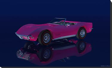 Hot Pink 1968 Chevrolet Corvette. by Walter Colvin