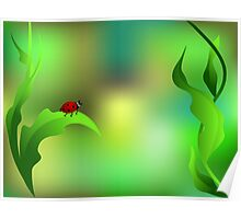 Ladybug sitting on a green leaf Poster