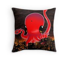 Octopus Destroying a City No. 2 Throw Pillow