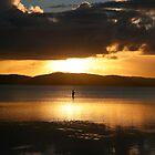 Lone fisherman at Wallis Lake by Alex Howen