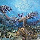 Mermaid and treasure chest by Tina-Renae
